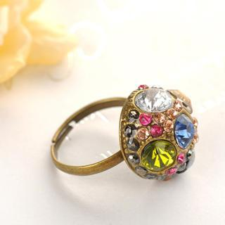 Colorful Rhinestone Ring  Copper - One Size