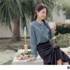 Long Sleeve Lace-up Chiffon Panel Lace Shirt