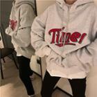 Print Drawcord Long-sleeve Hooded Fleece Sweatshirt