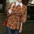 Floral Print Panel Collared Blouse