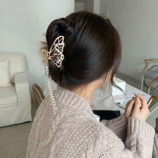 Faux Pearl Chain Butterfly Hair Clamp