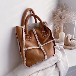 Faux Shearling Trim Tote Bag / Messenger Bag