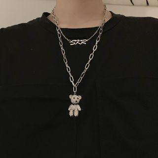Rhinestone Bear Chain Necklace As Shown In Figure - One Size