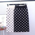 Heart Pattern Knit Skirt