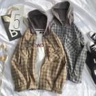 Plaid Zip-up Hooded Jacket