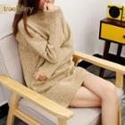 Mock Neck Long-sleeve Knit Dress