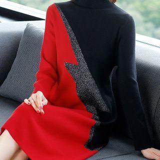 Mock-turtleneck Color Panel Knit Dress