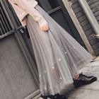 Embellished Mesh Maxi Skirt