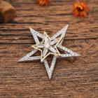 Rhinestone Star Brooch Silver & Gold - One Size