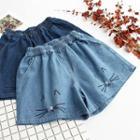 Cat Embroidered Wide Leg Denim Shorts