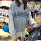 Hooded Shirt / Patterned Knit Vest