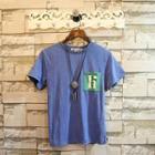 Short-sleeve Pocket-detail Lettering T-shirt