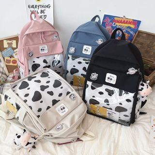 Pvc Panel Cow Print Canvas Backpack