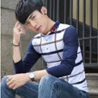 Printed Long-sleeve Polo Shirt