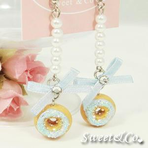 Sweet Blue Glitter Mini Donut Ribbon Pearl Earrings