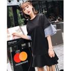 Elbow-sleeve Striped Panel Mini Dress
