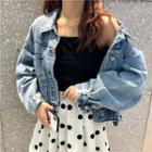 Loose-fit Denim Cropped Jacket