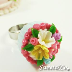 Sweet Blue Floral Mini Cupcake Silver Ring