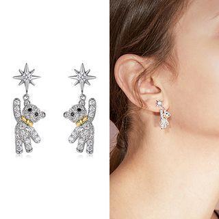 Bear Drop Earring 1 Pair - Silver Stud - Silver - One Size