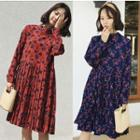 Floral Pleated Long-sleeve Dress