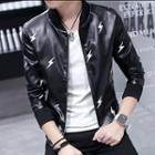 Lightning Patterned Zip Jacket