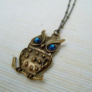 Shiny Owl Necklace Copper - One Size