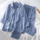 Set: Camisole Top + Loose-fit Shirt + Pants