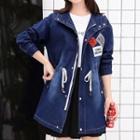 Applique Hooded Long Denim Jacket