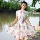 Short-sleeve Tie-neck Printed Dress