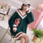 Contrast-trim Lettering Mini Sweater Dress