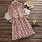 Long-sleeve Dotted Corduroy A-line Dress
