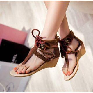 Faux-suede Lace-up Wedge Sandals