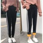 Fleece-lined Striped Sweatpants