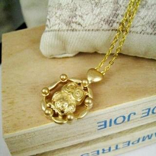 Gold Owel Necklace Gold - One Size