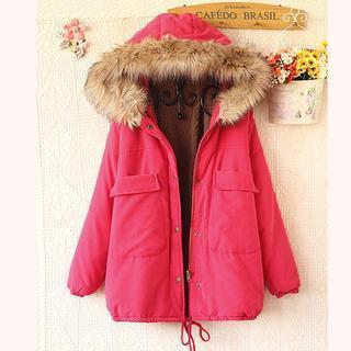 Faux-fur Trim Hooded Padded Jacket
