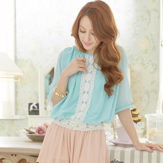 Elbow-sleeve Lace Trim Top