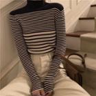Turtleneck Long-sleeve Striped Knit Top