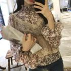Set: Floral Blouse + Lace Trim Camisole Top