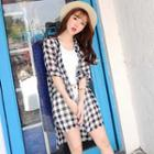 Gingham Chiffon Long Shirt