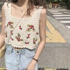 Flower Embroidered Cropped Tank Top White - One Size