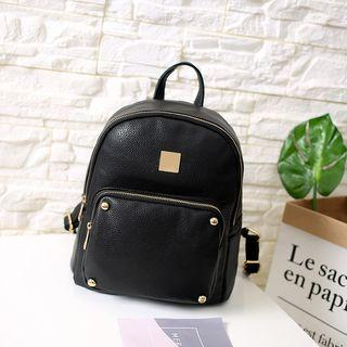 Zipper Faux Leather Backpack
