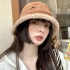 Embroidered Smiley Fleece-lined Corduroy Bucket Hat