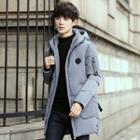Applique Hooded Long Padded Coat
