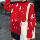 Christmas Patterned Sweater Red - One Size