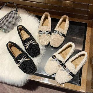 Rhinestone Bow Fleece Loafers