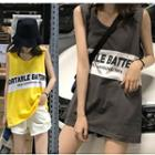 Color Block Lettering Tank Top / Crew-neck Tank Top
