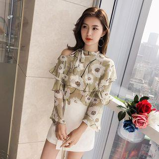 Floral Print Tiered Long-sleeve Chiffon Top