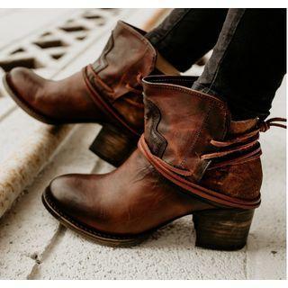 Chunky Heel Tie-up Short Boots