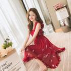 Sleeveless Chiffon Asymmetric A-line Dress
