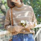 Striped Turtleneck Sweater Light Coffee - One Size